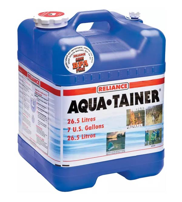 Reliance Aqua Tainer Water Container 10 van build essentials Sprinter Campervans